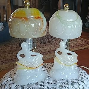 Pair of Vintage faux marble Victorian Lamps